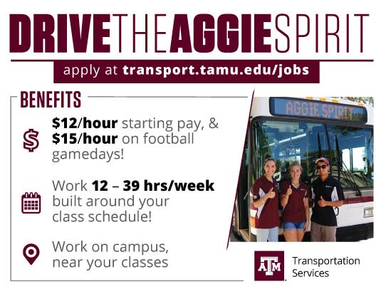 APPLY NOW - Student Transit Driver Ad