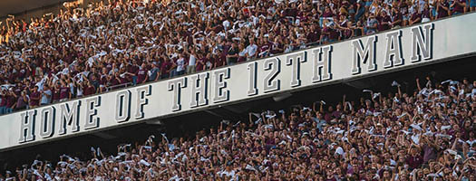 Home of the 12th Man banner at Kyle Field
