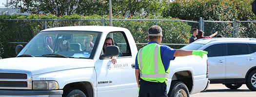 Enforcement officer directing traffic