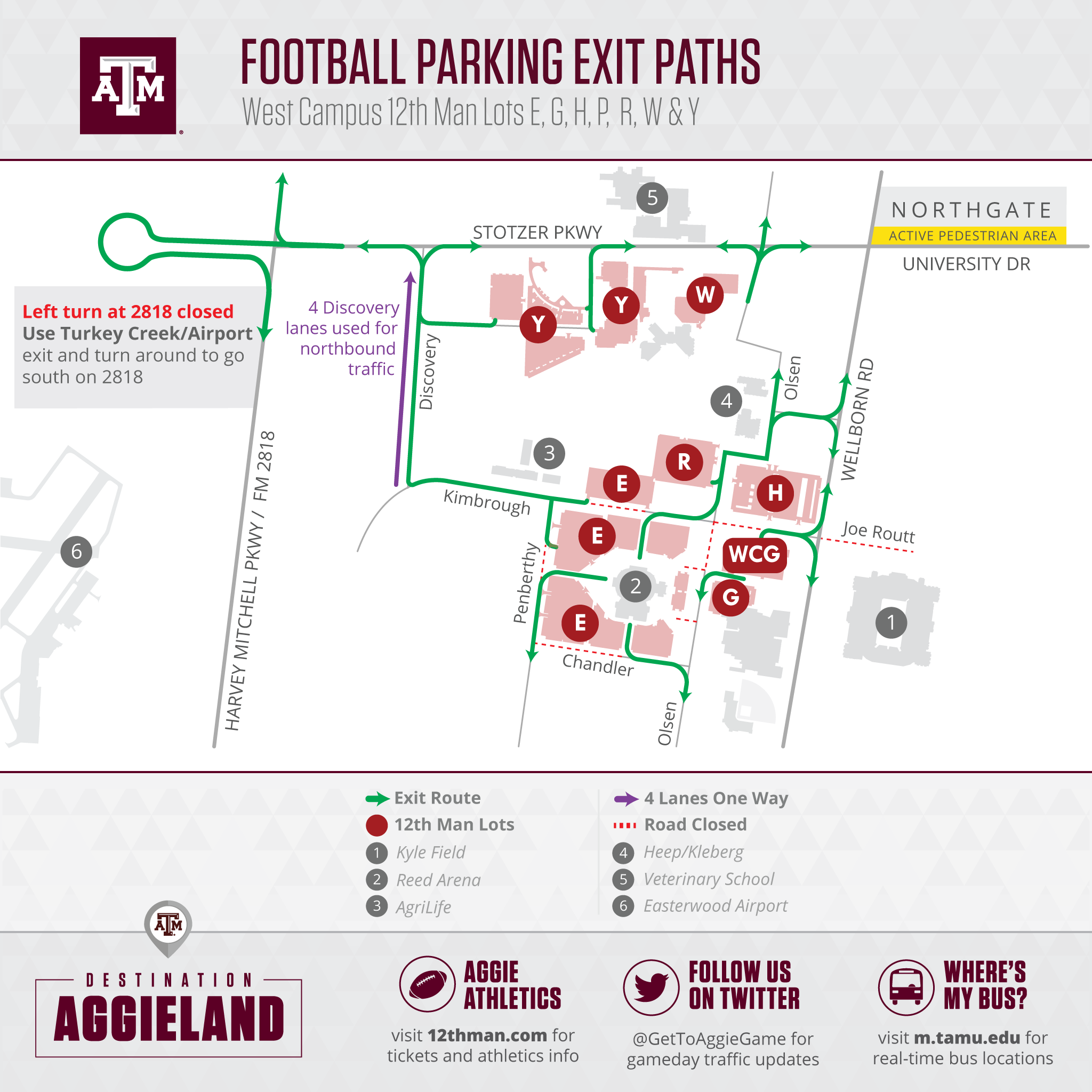 West Campus 12th Man Lots Map