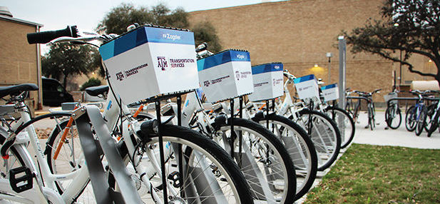 Zagster bikes on display in Rudder Plaza