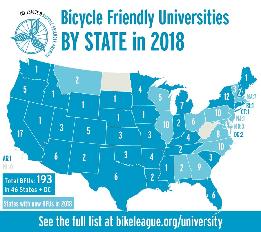 infographic showing number of bicycle friendly universities in each state