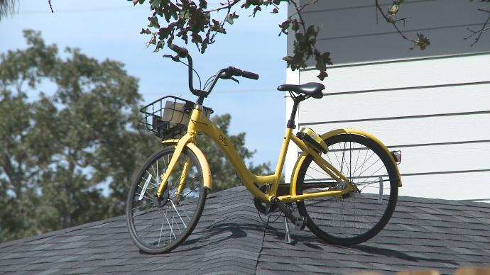 ofo bike sits on top of a roof