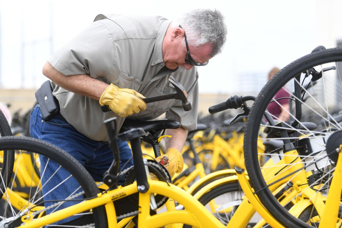 Ofo bikes being disassembled