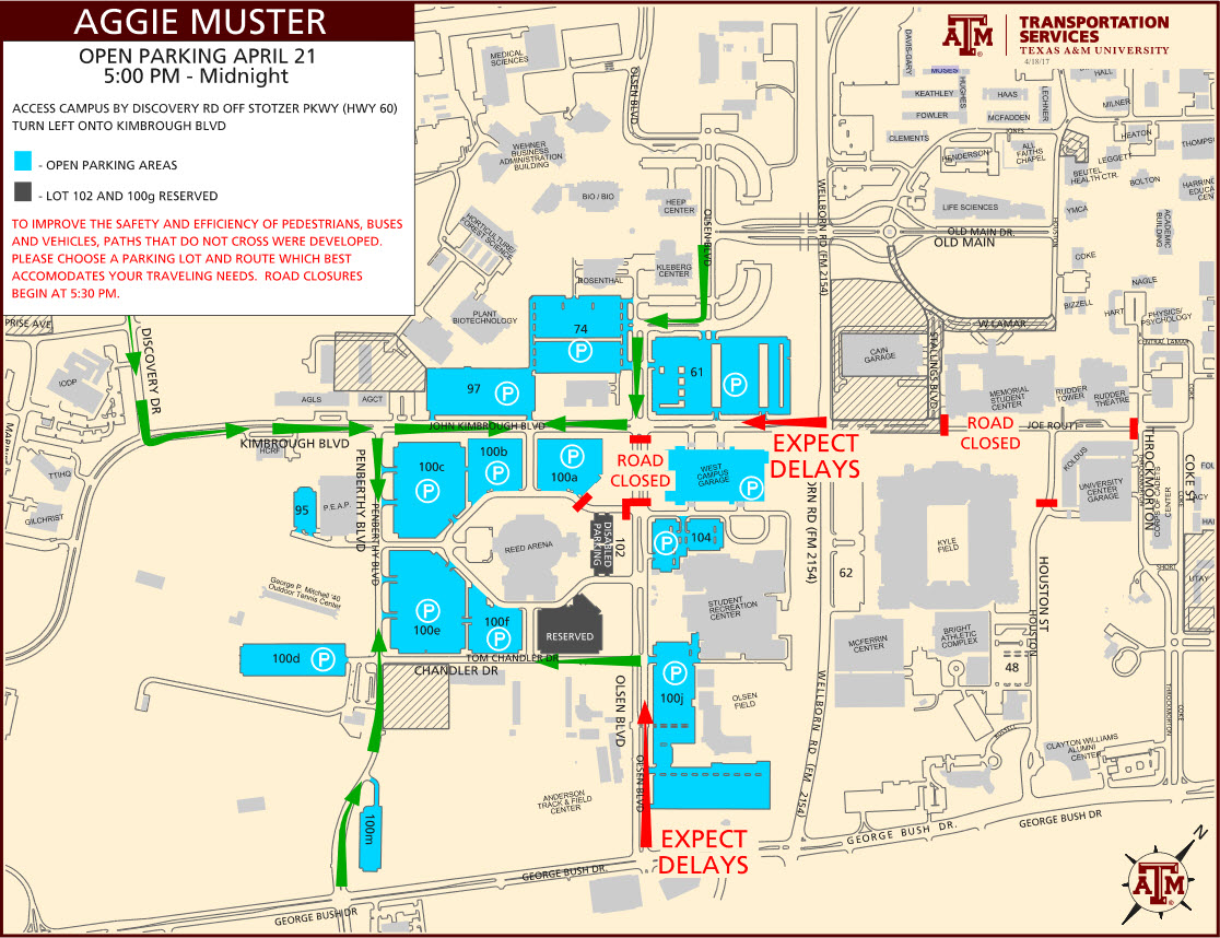 Campus Map Texas Am.Parking Traffic For Annual Campus Events